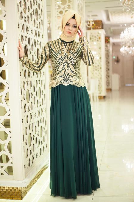 Tesettürlü Abiye Elbise - Üstü Payet İşlemeli Yeşil Tesettür Elbise 2185Y