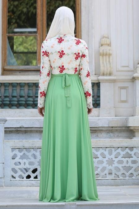 Tesettürlü Abiye Elbise - Üzeri Çiçek Dantelli Fıstık Yeşili Tesettür Abiye Elbise 7617FY