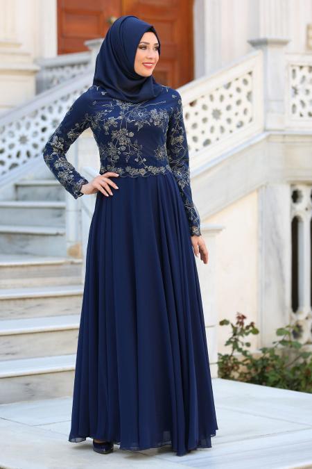 Tesettürlü Abiye Elbise - Üzeri Çiçek Dantelli Lacivert Tesettür Abiye Elbise 7547L