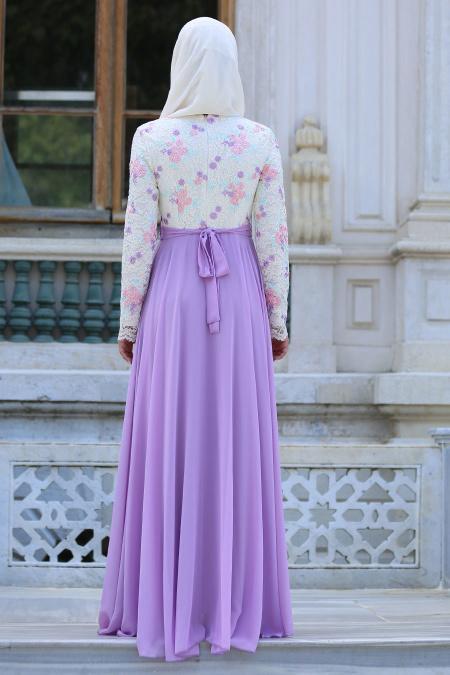 Tesettürlü Abiye Elbise - Üzeri Çiçek Dantelli Lila Tesettür Abiye Elbise 7617LILA