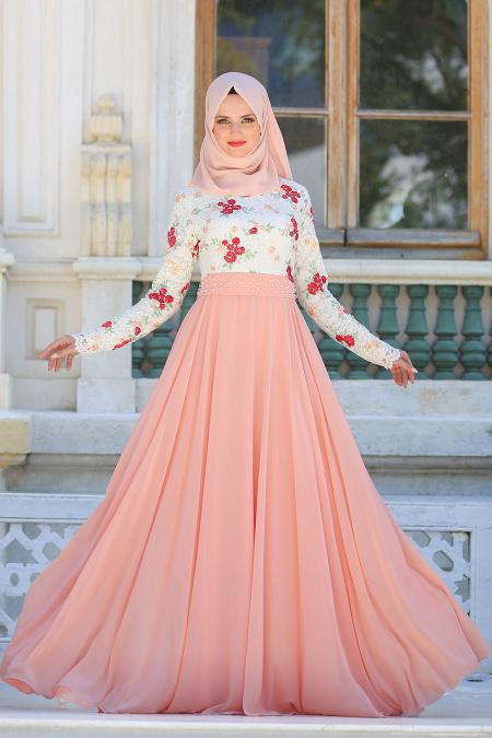 Tesettürlü Abiye Elbise - Üzeri Çiçek Dantelli Somon Tesettür Abiye Elbise 7617SMN
