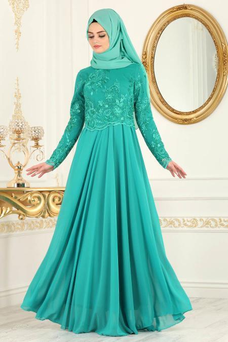 Tesettürlü Abiye Elbise - Üzeri Dantelli Çağla Yeşili Tesettür Abiye Elbise 76462CY