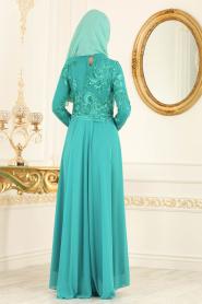 Tesettürlü Abiye Elbise - Üzeri Dantelli Çağla Yeşili Tesettür Abiye Elbise 76462CY - Thumbnail