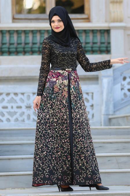 Tesettürlü Abiye Elbise - Üzeri Dantelli Siyah Tesettür Abiye Elbise 27280S