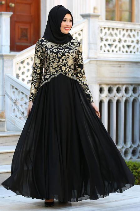 Tesettürlü Abiye Elbise - Üzeri Payetli Siyah Tesettür Abiye Elbise 7603S