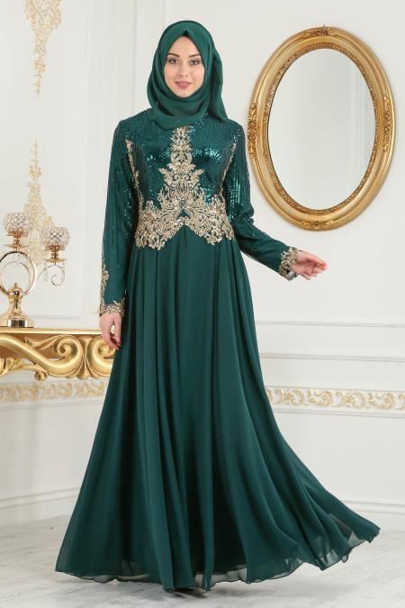 Tesettürlü Abiye Elbise - Üzeri Pul Payetli Yeşil Tesettür Abiye Elbise 7973Y