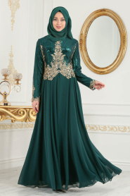 Tesettürlü Abiye Elbise - Üzeri Pul Payetli Yeşil Tesettür Abiye Elbise 7973Y - Thumbnail