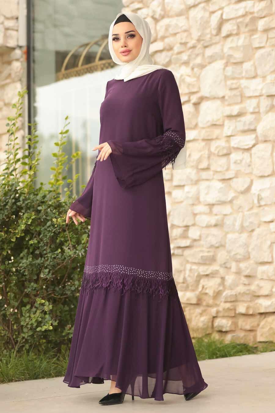 Tesettürlü Abiye Elbise - Volan Kollu Mor Tesettür Abiye Elbise 39250MOR