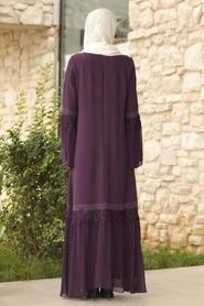 Tesettürlü Abiye Elbise - Volan Kollu Mor Tesettür Abiye Elbise 39250MOR - Thumbnail