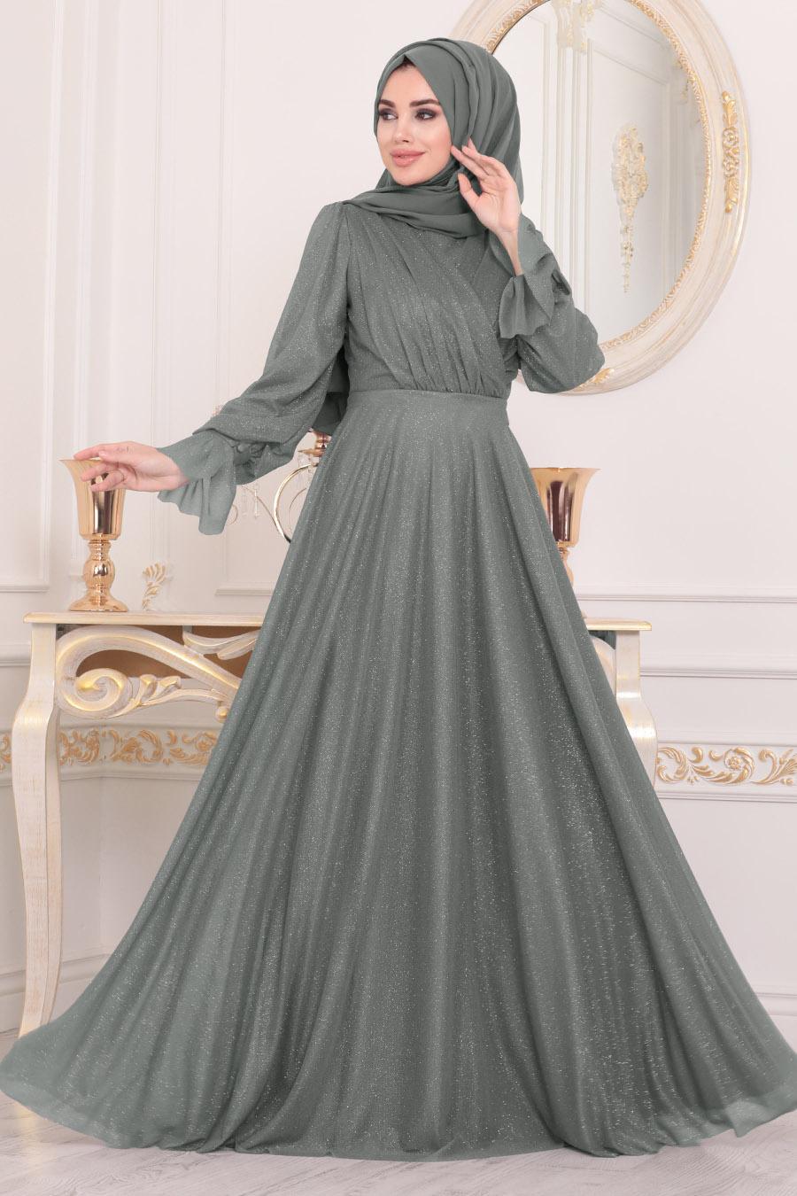 Tesettürlü Abiye Elbiseler - Füme Tesettür Abiye Elbise 22202FU