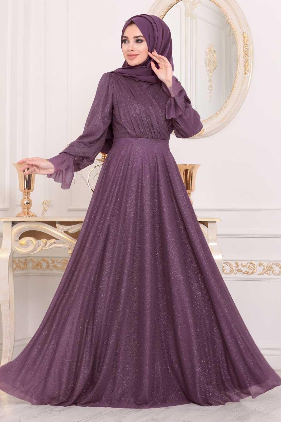 Tesettürlü Abiye Elbiseler - Koyu Gül Kurusu Tesettür Abiye Elbise 22202KGK
