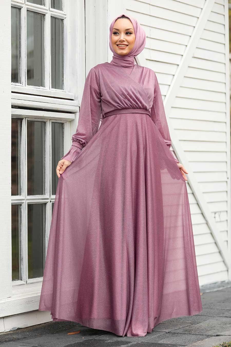 Tesettürlü Abiye Elbiseler - Koyu Lila Tesettür Abiye Elbise 22202KLILA