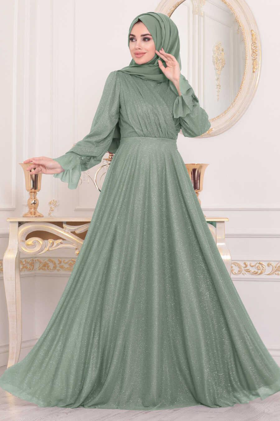 Tesettürlü Abiye Elbiseler - Mint Tesettür Abiye Elbise 22202MINT