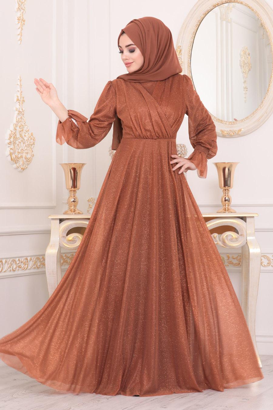 Tesettürlü Abiye Elbiseler - Taba Tesettür Abiye Elbise 22202TB
