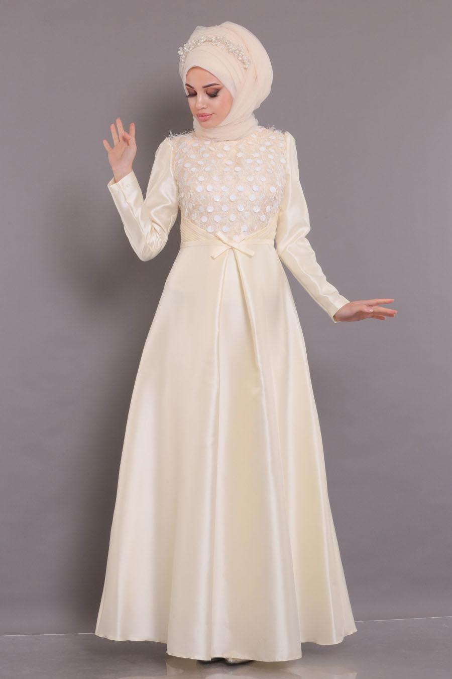 Tesettürlü Abiye Elbiseler - Tafta Ekru Tesettür Abiye Elbise - 3755E