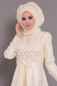 Tesettürlü Abiye Elbiseler - Tafta Ekru Tesettür Abiye Elbise - 3755E - Thumbnail