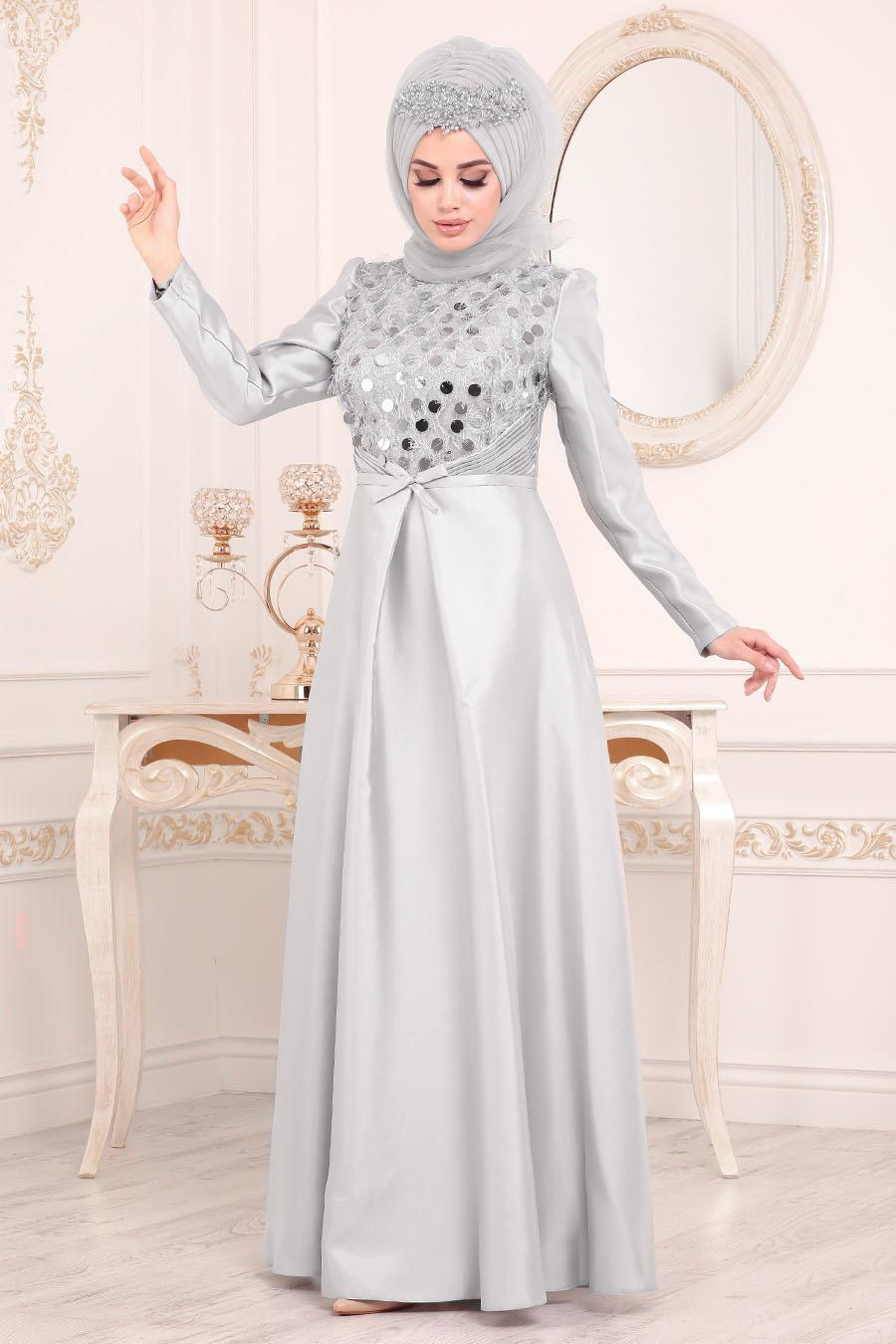 Tesettürlü Abiye Elbiseler - Tafta Gri Tesettür Abiye Elbise 3755GR