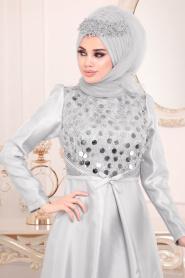 Tesettürlü Abiye Elbiseler - Tafta Gri Tesettür Abiye Elbise 3755GR - Thumbnail