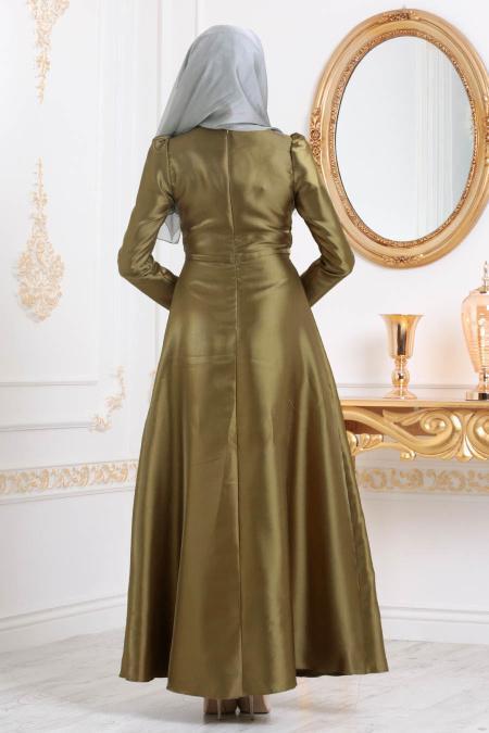 Tesettürlü Abiye Elbiseler - Tafta Haki Tesettür Abiye Elbise 3755HK