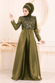 Tesettürlü Abiye Elbiseler - Tafta Haki Tesettür Abiye Elbise 3755HK - Thumbnail