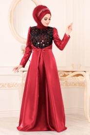 Tesettürlü Abiye Elbiseler - Tafta Kırmızı Tesettür Abiye Elbise 3755K - Thumbnail