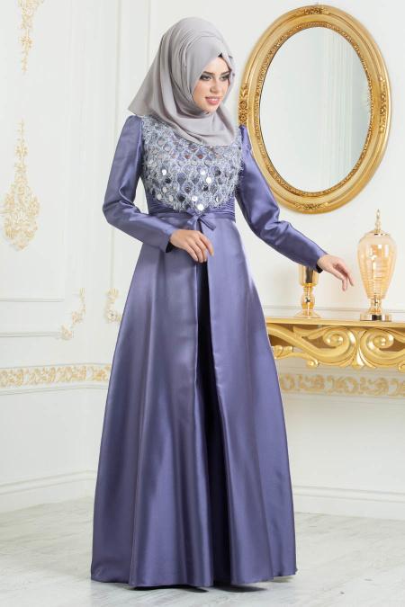 Tesettürlü Abiye Elbiseler - Tafta Koyu Lila Tesettür Abiye Elbise 3755KLILA