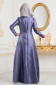 Tesettürlü Abiye Elbiseler - Tafta Koyu Lila Tesettür Abiye Elbise 3755KLILA - Thumbnail