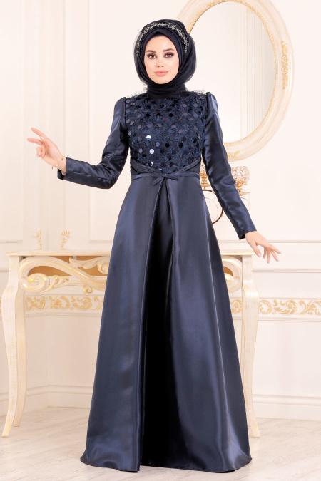 Tesettürlü Abiye Elbiseler - Tafta Lacivert Tesettür Abiye Elbise 3755L