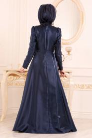 Tesettürlü Abiye Elbiseler - Tafta Lacivert Tesettür Abiye Elbise 3755L - Thumbnail