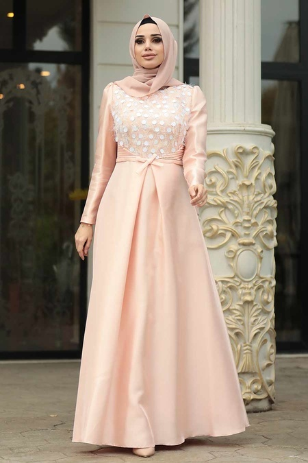 Tesettürlü Abiye Elbiseler - Tafta Pudra Tesettür Abiye Elbise 3755PD