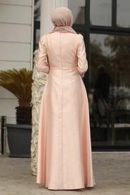 Tesettürlü Abiye Elbiseler - Tafta Pudra Tesettür Abiye Elbise 3755PD - Thumbnail