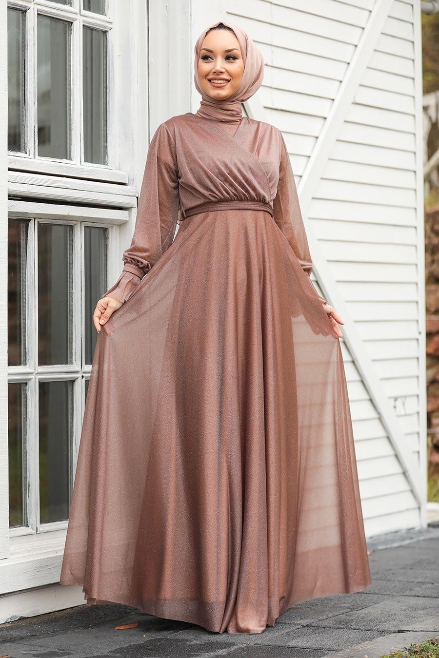 Tesettürlü Abiye Elbiseler - Vizon Tesettür Abiye Elbise 22202V