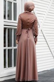 Tesettürlü Abiye Elbiseler - Vizon Tesettür Abiye Elbise 22202V - Thumbnail