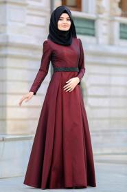 Tuay - Beli Taşlı Bordo Tesettür Abiye Elbise 2418BR - Thumbnail