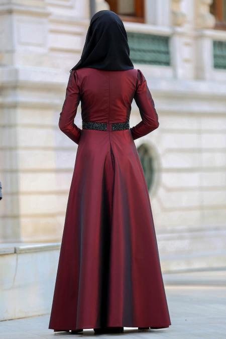 Tuay - Beli Taşlı Bordo Tesettür Abiye Elbise 2418BR