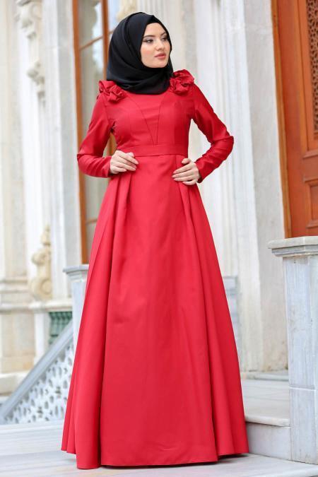 Tuay - Omuzları Büzgülü Tafta Bordo Tesettür Abiye Elbise 2406BR