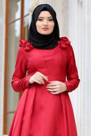 Tuay - Omuzları Büzgülü Tafta Bordo Tesettür Abiye Elbise 2406BR - Thumbnail