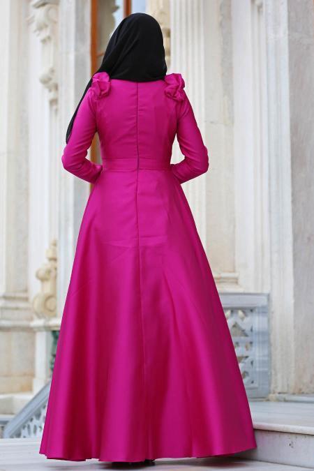 Tuay - Omuzları Büzgülü Tafta Fuşya Tesettür Abiye Elbise 2406F