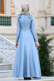 Tuay - Omuzları Büzgülü Tafta Gri Tesettür Abiye Elbise 2406GR - Thumbnail