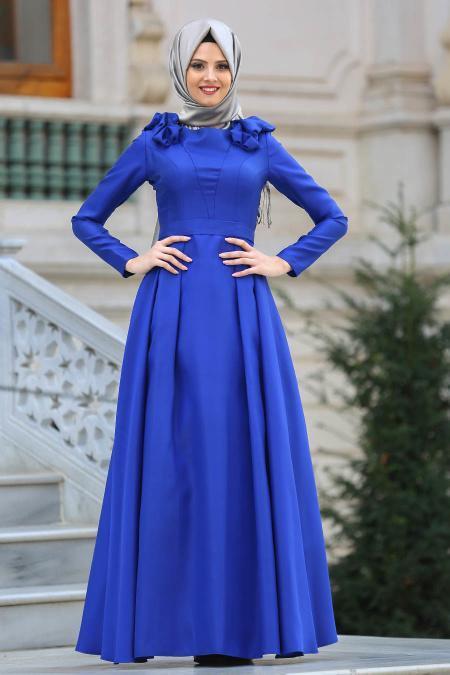 Tuay - Omuzları Büzgülü Tafta Sax Mavisi Tesettür Abiye Elbise 2406SX