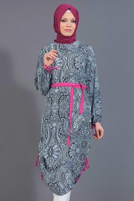 Tuncay - Eteği Büzgülü Desenli Lacivert Tunik