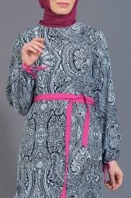 Tuncay - Eteği Büzgülü Desenli Lacivert Tunik - Thumbnail