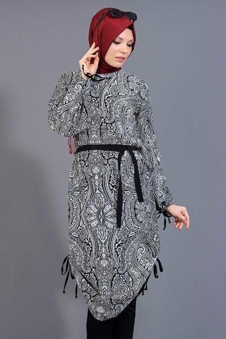 Tuncay - Eteği Büzgülü Desenli Siyah Tunik