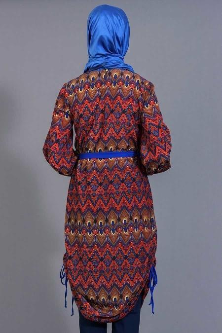 Tuncay - Eteği Büzgülü Desenli Mavi Tunik