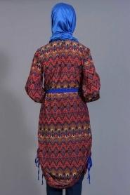 Tuncay - Eteği Büzgülü Desenli Mavi Tunik - Thumbnail