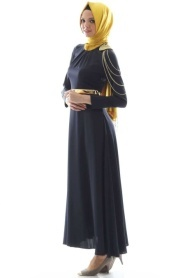 Tuay - Zincir Detaylı Tesettür Elbise 1625L - Thumbnail