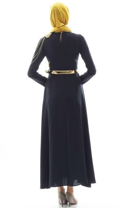 Tuay - Zincir Detaylı Tesettür Elbise 1625L