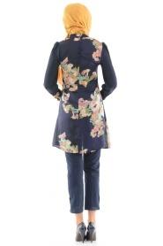 Tuncay - Çiçek Desenli Lacivert Tunik - Thumbnail