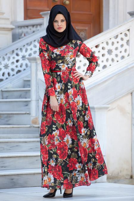 Zernişan - Çiçek Desenli Kırmızı Elbise