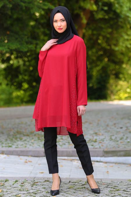 Zernişan - Taş ve İnci Detaylı Kırmızı Tesettür Tunik 4843K